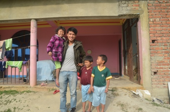 Bikram Lama with orphans of Nepal