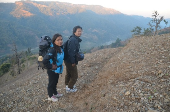 Reuben and Rita climbing mountain of Nepal to encourage brothers and sisters in Christ.