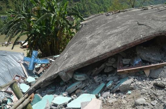 Alpha Church in Khadichaur where 6 people died in Earthquake