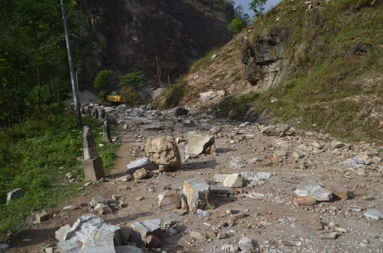 We can't go further then this because road was closed by the rocks and stone. This place is Jhauli Bhir in between Chaku and Bungy.