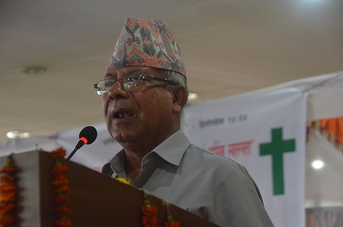 Political leader, Madhav Kumar Nepal from Nepal ex pm and senior leader of Nepal Communist Party (UML) optimistic about the demand and inclusion of Christian's rights in new constitution.