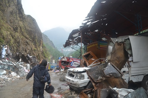 Scene from the Nepal Tibet border. Hundreds of Vehicles were totally damaged as the heavy stone from the mountain rolled upon them.