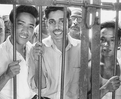 Bir Bahadur Rai, Prem Pradhan, and Dil Bahadur Thakuri in Tansen prison for their faith in Christ, 1961