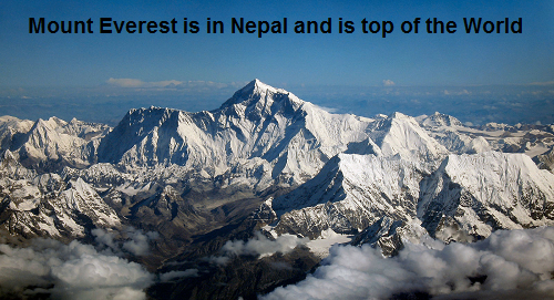 Mount Everest, Highest point in the world. 8848 Meter